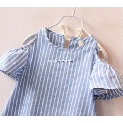 Blue Striped Off-shoulder Toddler Dress