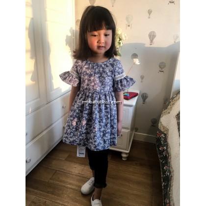 Floral Girl Dress (Blue)