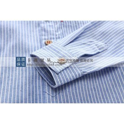 Striped Boy Blouse (Blue / Khaki)