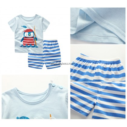 Cute Penguin Clothing Set (Blue)
