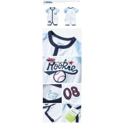 Cuddle Me Top Rookie 08 Baseball Uniform Baby Romper (Light Blue)