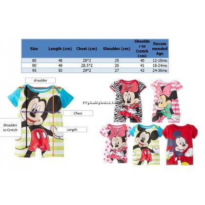 Mickey in Stripes Baby Bodysuit Romper