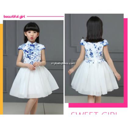 Blue Color Chinese Style Girl Cheongsam Tutu Dress (B-11)