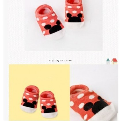 Korean Style Anti-slip Baby Hidden Sock - Polka Dot Mickey